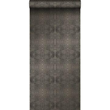 behang dierenhuidprint zwart en glanzend brons