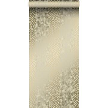 behang slangenprint glanzend brons