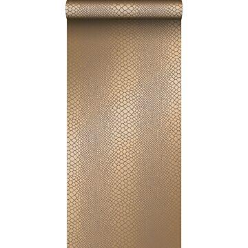behang slangenprint glanzend koper bruin