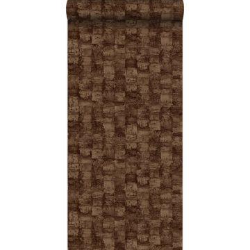 behang met structuur glanzend koper bruin