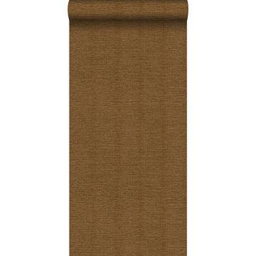 behang linnenstructuur roest bruin