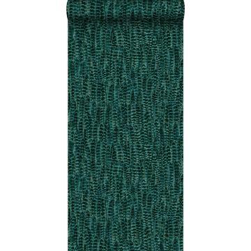 behang veren smaragd groen