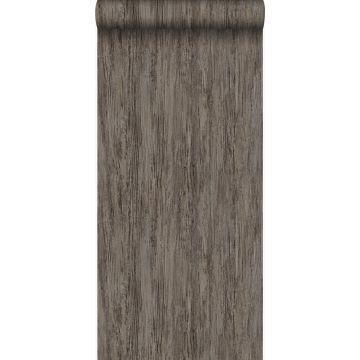 behang houtlook donker taupe
