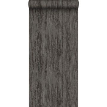 behang houtlook donkergrijs