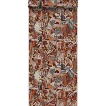 behang figuratief motief roest bruin