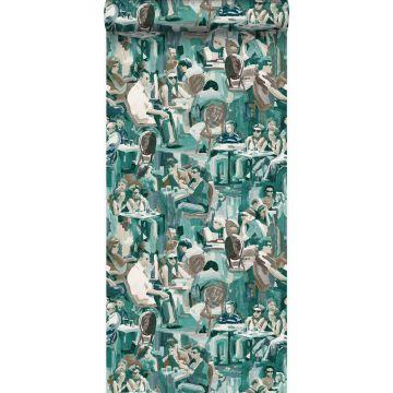 behang figuratief motief smaragd groen