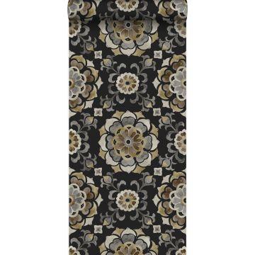 behang suzani bloemen zwart