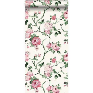 behang bloemen wit en licht roze