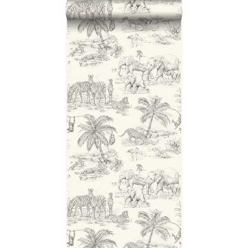 behang jungle-motief ivoor wit en grijs