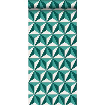 behang grafisch 3D motief smaragd groen