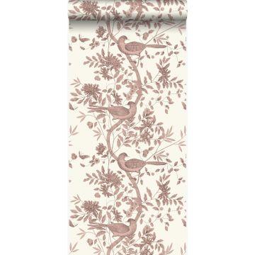 behang vogel gravure ivoor wit en glanzend koper bruin