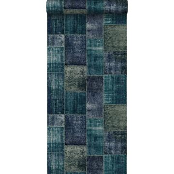behang kelim patchwork smaragd groen