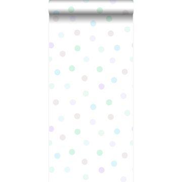 behang stip pastel paars, mintgroen, glanzend zilvergrijs en pastelblauw
