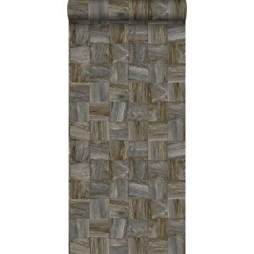 eco texture vlies behang sloophout motief donkerbruin