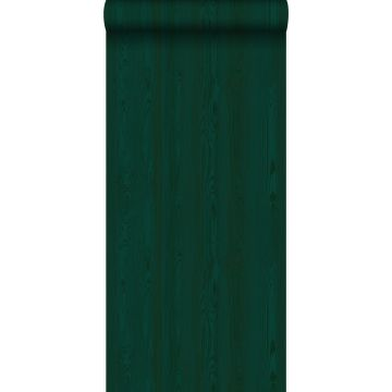 behang houten planken smaragd groen