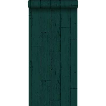 behang verweerde houten planken smaragd groen