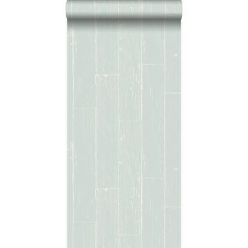 behang verweerde houten planken mintgroen