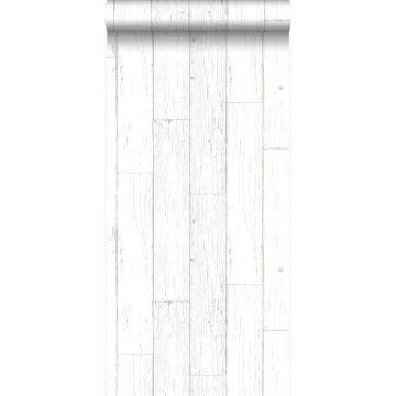 behang sloophout planken ivoor wit