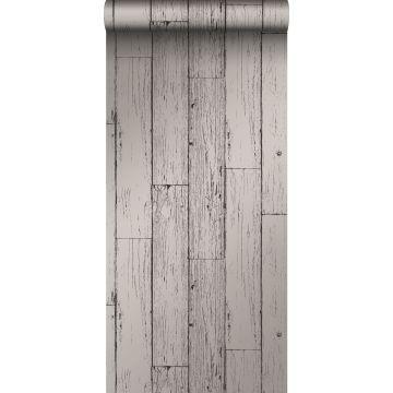 behang sloophout planken donkergrijs