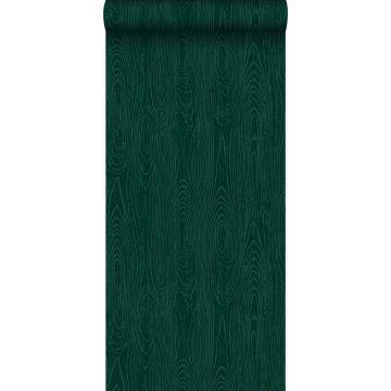 behang houten planken met nerf smaragd groen