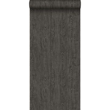 behang houten planken met nerf donkergrijs