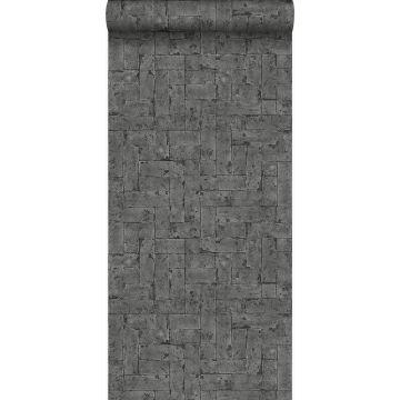 behang bakstenen zwart
