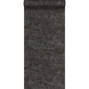 behang kalkstenen blokken zwart