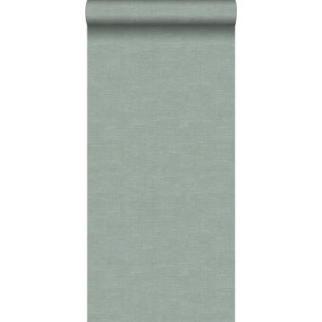 behang linnenstructuur celadon groen