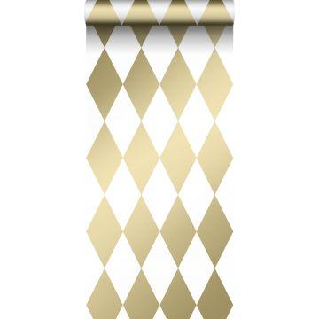behang ruiten wit en goud