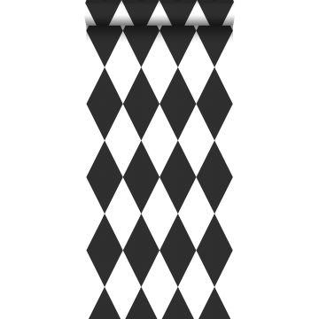 behang ruiten zwart wit