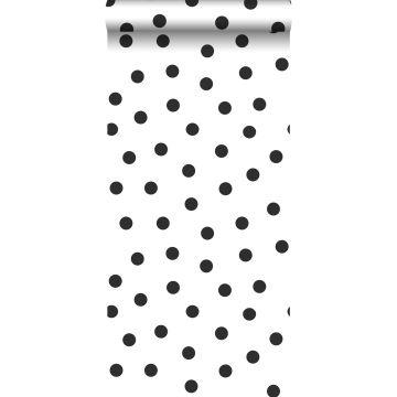 behang kleine stippen zwart wit