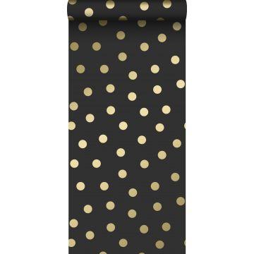 behang kleine stippen zwart en goud