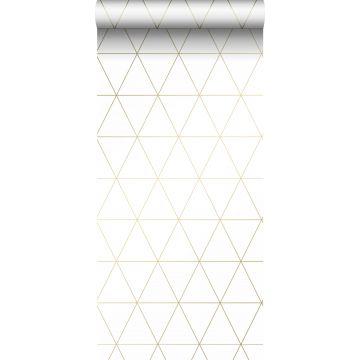 behang grafische driehoeken wit en goud