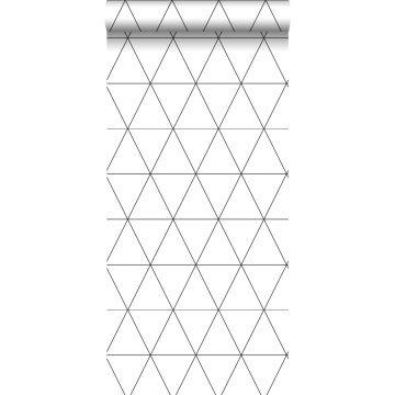 behang grafische driehoeken zwart wit