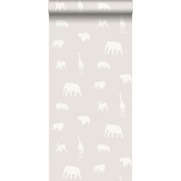 behang dieren glanzend grijs