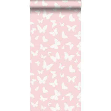behang vlinders glanzend roze en wit
