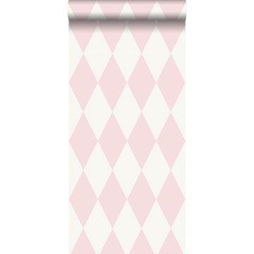 behang ruiten glanzend roze