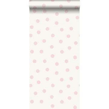 behang kleine stippen glanzend roze en wit