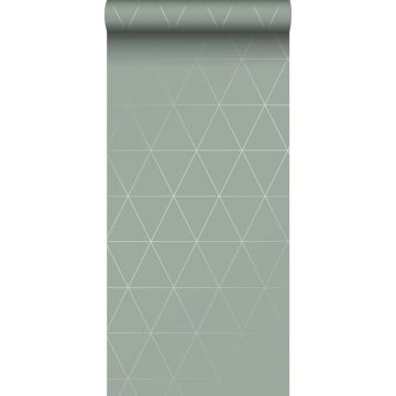 behang grafische driehoeken vergrijsd groen