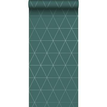 behang grafische driehoeken groen
