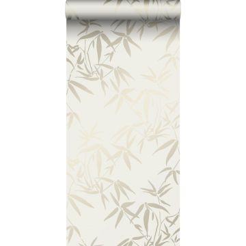 behang bamboe bladeren beige