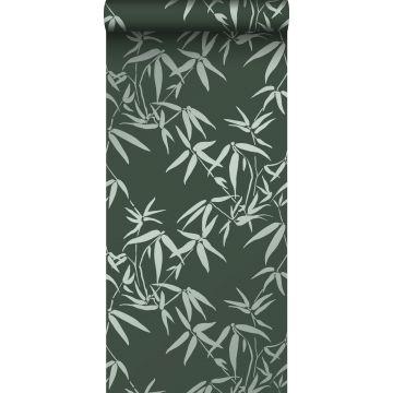 behang bamboe bladeren donkergroen