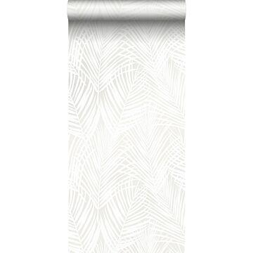 behang palmbladeren wit