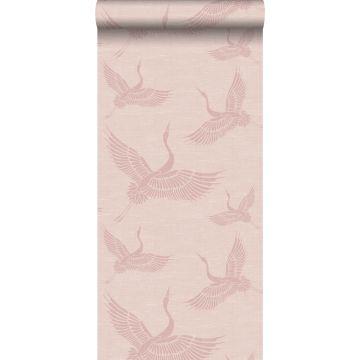 behang kraanvogels oudroze