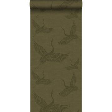 behang kraanvogels mosterdgroen