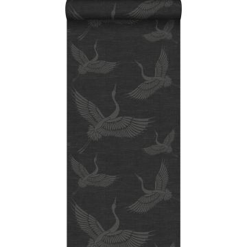 behang kraanvogels donkergrijs