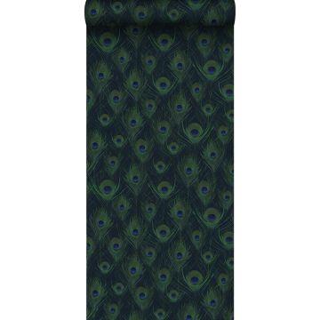 eco texture vlies behang pauwenveren donkerblauw