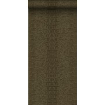 behang krokodillenhuid bruin