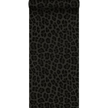 behang panterprint donkergrijs en zwart