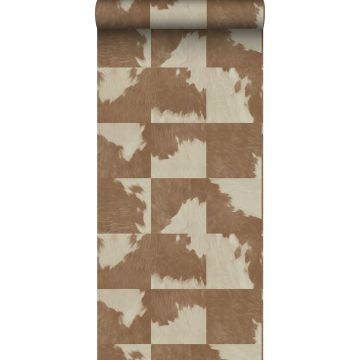 behang koeienhuid-look bruin en wit